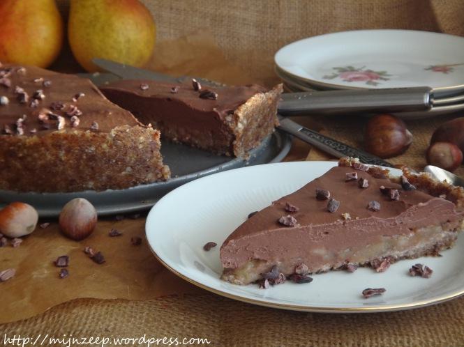 Raw pear chocolate cake