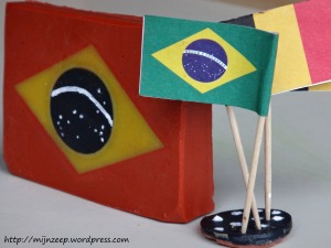 Brazilian flan in Belgian colours